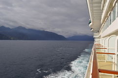 Cruise ship balcony view of mountains Royalty Free Stock Images