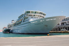 Cruise ship Balmoral. Docked in Piraeus, Greece. Fred. Olsen Cruise Lines Royalty Free Stock Photos