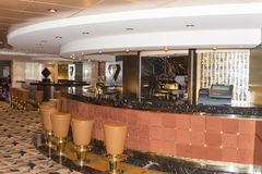 Cruise ship bar interior. A bar interior onboard the MSC Musica. The MSC Musica is the first Musica-class cruise ship built in 2006 and operated by MSC Cruises Royalty Free Stock Photo