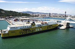 Cruise Ship at  Barcelona port Royalty Free Stock Images