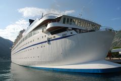 Cruise ship in bay Royalty Free Stock Images