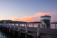 Cruise ship in bay. Cruise ship in Darling habour, Sydney, Australia Stock Photography