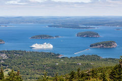 Cruise Ship in Bay from Cadillac Mountain Royalty Free Stock Image