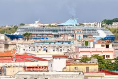 Cruise ship on the bay of Havana Stock Photo