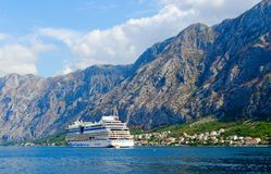 Cruise ship in Bay of Kotor, Montenegro Royalty Free Stock Images