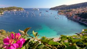 Cruise ship in the Bay of Villefranche Sur Mer, Côte d`Azur, France stock footage
