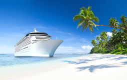 Cruise ship by the Beach Royalty Free Stock Images