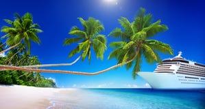 Cruise Ship Beach Sea Palm Tree Concept Royalty Free Stock Image