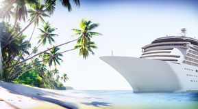 Cruise Ship Beach Sea Palm Tree Concept Stock Image