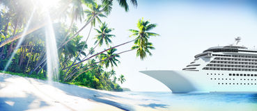 Cruise Ship Beach Sea Palm Tree Concept Royalty Free Stock Image