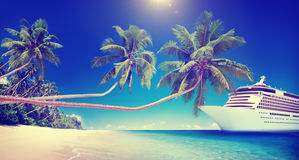 Cruise Ship Beach Sea Palm Tree Concept Stock Images