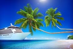 Cruise Ship Beach Sea Palm Tree Concept Royalty Free Stock Photos
