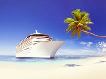 Cruise Ship Beach Sea Palm Tree Concept Royalty Free Stock Photography