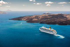Cruise ship in the beautiful blue sea Stock Images