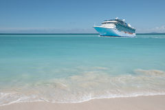 Cruise ship on beautiful Caribbean Sea. Royalty Free Stock Photos
