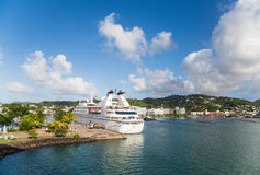Cruise Ship at Beautiful Tropical Port Royalty Free Stock Photo