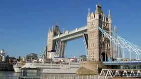 The cruise ship Berlin passes under Tower Bridge. 4X Speed stock video footage