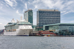 Cruise ship is at berth in the port of Amsterdam Royalty Free Stock Images