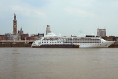 Cruise ship berthed at the quayside in Antwerp Royalty Free Stock Photos
