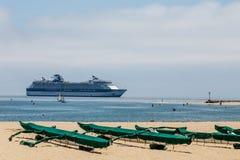 Cruise Ship Beyond Kayaks Royalty Free Stock Photography