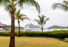 Cruise Ship Beyond Palm Trees in Bay Stock Image
