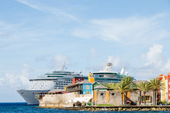 Cruise Ship Beyond Point of Curacao Royalty Free Stock Photography