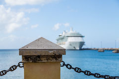 Cruise Ship Beyond Post and Chain Stock Photography