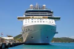 Cruise ship. Big cruise ship docked on caribbean island stock photo