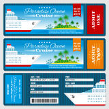 Cruise ship boarding pass ticket. Honeymoon wedding invitation vector template Royalty Free Stock Photography