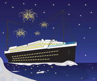 Cruise Ship boat and fireworks Stock Image