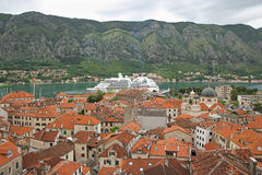 Cruise ship in Boka Kotorska bay, Montenegro Stock Images