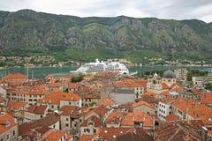 Cruise ship in Boka Kotorska bay, Montenegro Stock Images