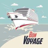 Cruise ship bon voyage illustration. Cruise ship illustration with Bon Voyage headline Royalty Free Stock Photo