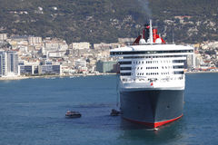 Cruise Ship Bow. With built up background of Gibraltar Stock Images