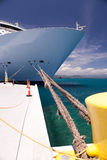 Cruise ship bow, docked in the caribbean sea Stock Images