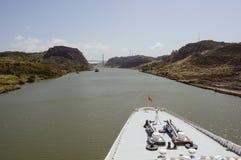 Cruise ship bow passing Panama Canal near the bridge. Royalty Free Stock Image