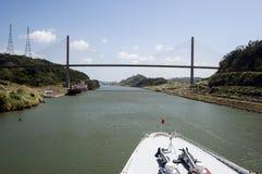Cruise ship bow passing Panama Canal near the bridge. Stock Photo