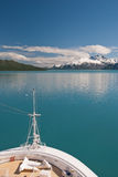 Cruise ship bow and scenery Royalty Free Stock Images