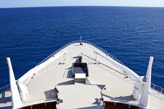 Cruise Ship Bow at Sea. The view over the bow of a cruise ship at sea Stock Photo