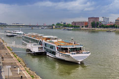 Cruise ship in Budapest port Stock Photos