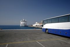Cruise ship and bus Royalty Free Stock Photo