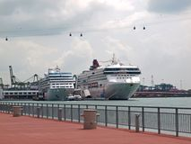 Cruise Ship, Cable Car & Monorail Royalty Free Stock Images