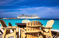 Cruise ship and cafe Royalty Free Stock Images