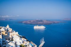 Cruise ship in Caldera. Santorini Royalty Free Stock Images