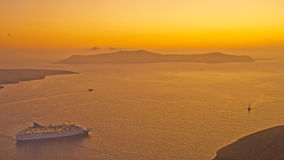 Cruise ship in Caldera of Santorini. Stock Image