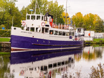 Cruise Ship on Calendonian Canal, Scotland Royalty Free Stock Photography