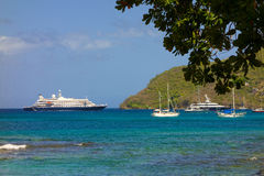 A cruise ship calling at admiralty bay, bequia Royalty Free Stock Image