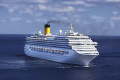 Cruise Ship in the Caribbean. Cruise Ship in the beautiful blue waters of the Caribbean Royalty Free Stock Images