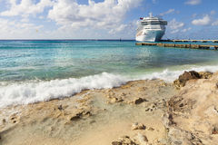 Cruise ship in Caribbean port Royalty Free Stock Image