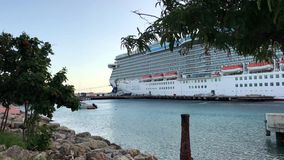 Cruise Ship in Caribbean port stock video